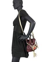Small Leather Bucket Bag Premier Flirt Lancel Violet premier flirt A10530-vue-porte