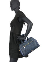 Nilian Satchel Lulu castagnette Blue zip NILIAN-vue-porte