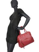 Shopping Bag Vintage Leather Nat et nin Red vintage MACY-vue-porte