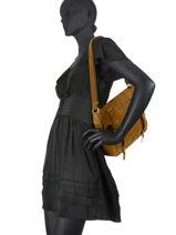 Leather Bernie Croco Crossbody Bag Mila louise Brown vintage 3024VBS-vue-porte