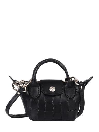 Longchamp Le pliage cuir croco Sacs porté travers Noir