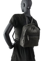 Backpack Burkely Black croco cody 29-vue-porte