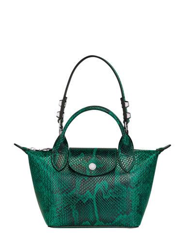 Longchamp Le pliage cuir exotique Sacs porté main Vert