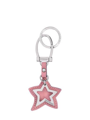 Longchamp Le pliage cuir Porte clés Rose
