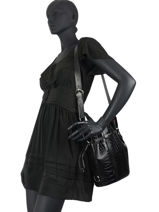 Medium Leather Elsa Croco Bucket Bag Lancel Black elsa A11003-vue-porte
