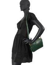 Shoulder Bag Exotic Croco Souple Leather Lancaster Green exotic croco souple 69-vue-porte