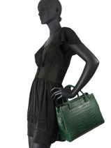 Leather Satchel Exotic Croco Lancaster Green exotic croco souple 71-vue-porte