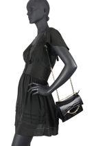 Leather Karl Seven Croco Shoulder Bag Karl lagerfeld Black karl seven 206W3186-vue-porte