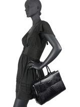Leather K Ikon Croco Top-handle Bag Karl lagerfeld Black k icon 206W3080-vue-porte