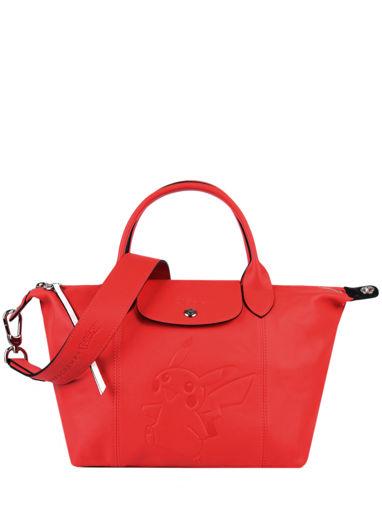 Longchamp Le pliage cuir pokemon Handbag Red