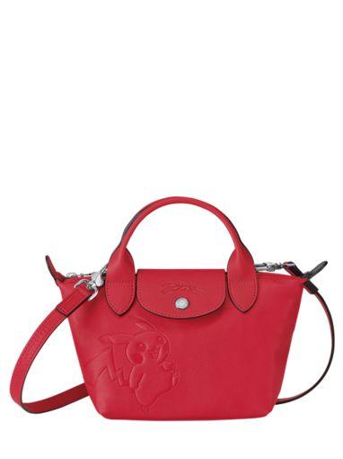 Longchamp Le pliage cuir pokemon Sacs porté main Rouge