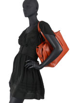 Leather Caviar Shoulder Bag Milano Orange CA20064N-vue-porte