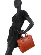 Leather Briefcase 3 Compartments Caviar Milano Orange CA19121-vue-porte