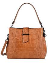 Leather Shoulder Bag Croco Milano Brown CR19113N
