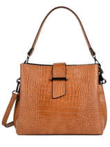 Leather Shoulder Bag Croco Milano Red croco CR19113N
