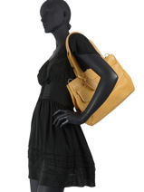Leather Just Jackie Shoulder Bag Burkely Yellow just jackie 84-vue-porte