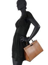 Leather Croco Top-handle Bag Milano Brown croco CR20091-vue-porte