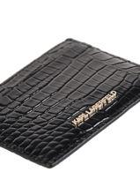 Leather Karl Seven Croco Card Holder Karl lagerfeld Black karl seven 206W3217-vue-porte