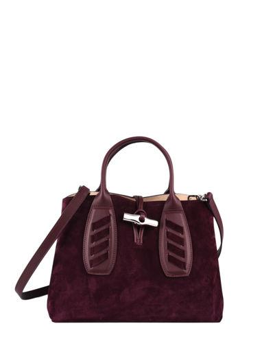 Longchamp Roseau lacet Sacs porté main Rouge