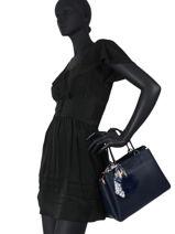 Top Handle Sable Leather Miniprix Blue sable DQ815-vue-porte