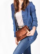 Shoulder Bag Etincelle Irisee Leather Etrier Brown etincelle irisee EETI01-vue-porte