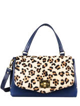 Leather Leopard Satchel Augre f Blue leopard L