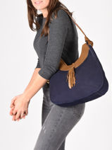 Shoulder Bag Tornade Leather Etrier Blue tornade ETOR06-vue-porte