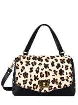 Leather Leopard Satchel Augre f Black leopard L