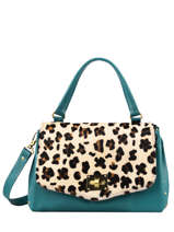 Leather Leopard Satchel Augre f Multicolor leopard L