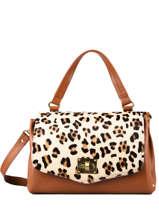 Leather Leopard Satchel Augre f Brown leopard L