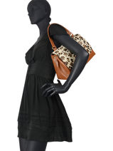 Leather Leopard Satchel Augre f Brown leopard L-vue-porte