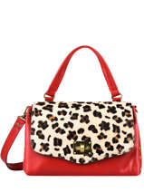 Leather Leopard Satchel Augre f Red leopard L