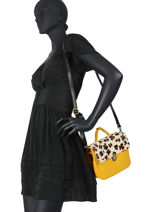 Leather Leopard Satchel Augre f Yellow leopard L-vue-porte