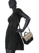 Leather Zebra Satchel Augre f Black zebre Z-vue-porte