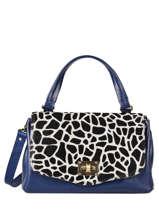 Leather Giraffe Satchel Augre f Blue girafe G