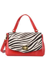 Leather Zebra Satchel Augre f Red zebre Z