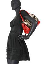 Leather Zebra Satchel Augre f Red zebre Z-vue-porte