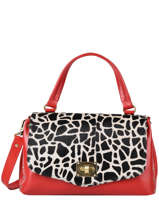 Leather Giraffe Satchel Augre f Red girafe G