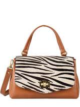 Leather Zebra Satchel Augre f Brown zebre Z