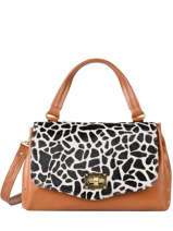 Leather Giraffe Satchel Augre f Brown girafe G