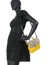 Leather Zebra Satchel Augre f Yellow zebre Z-vue-porte