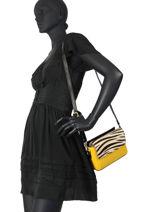 Leather Zebra Crossbody Bag Augre f Yellow zebre Z-vue-porte