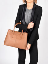 Shopping Bag Les Marquises Leather Nathan baume Brown les marquises N1720104-vue-porte