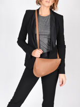 Leather Crossbody Bag Large City Perle Nathan baume Brown n city 1-vue-porte