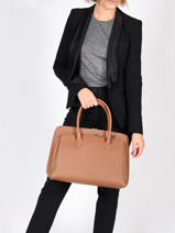 Leather Billy Tote Bag Nathan baume Brown nathan N1920016-vue-porte