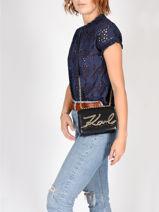 Leather Crossbody Bag K Signature Mini Karl lagerfeld Black k signature 96KW3029-vue-porte