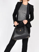 Leather Lora Carryal Coach Black lora 89486-vue-porte
