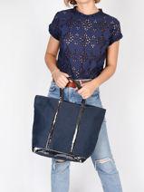 Medium Tote Bag Le Cabas Sequins Vanessa bruno Blue cabas 1V40413-vue-porte