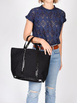 Medium Tote Bag Le Cabas Sequins Vanessa bruno Black cabas 1V40413-vue-porte