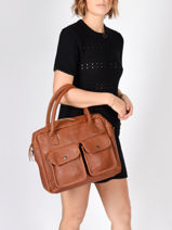 Sac Shopping Vintage Cuir Paul marius Marron vintage DANDY-vue-porte